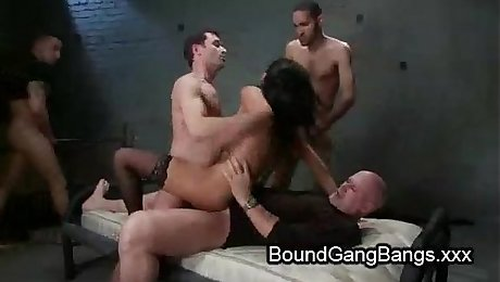 Huge natural boobs babe gangbang fucked