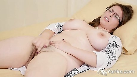 Busty Patience Masturbating Her Hairy Cunt